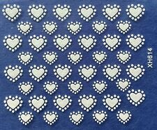 Nail Art 3D Decal Stickers White Hearts Valentine's Day XH614