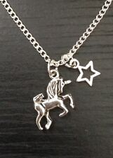 """Silver Tone Unicorn 18"""" Necklace With Star Charm,Party Bag Fillers,Gift"""