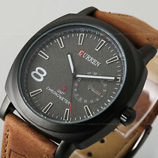CURREN Sport Black Dial Leather Strap Military Mens Watches Quartz Accessories