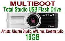 Multiboot 16GB USB Flash Drive. Bootable Artistx, AVLinux, Dream, Ubuntu Studio