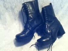 Faux Leather Element Zip Lace Military Combat Style Boot Rubber Chunk Heel 8/ 9M