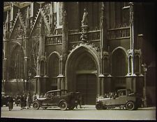 Glass Magic Lantern Slide CARS OUTSIDE CATHEDRAL C1930 UNKNOWN LOCATION