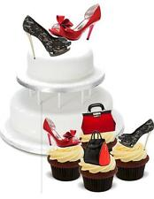 NOVELTY Red Black Shoes PACK 2 Large 12 Cupcake STAND UP Cake Toppers Birthday
