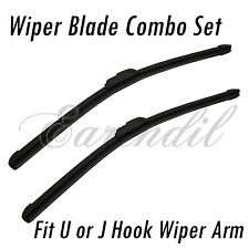 "U/J Hook Wiper Set 22""+24"" Windshield Brackletless Universal Blade -w53 Combo"