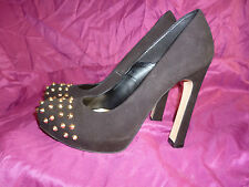 **WOMENS BLACK SUEDE STUD TOE COURT SHOES.HIGH HEEL. DUNE.UK 5 (38).WORN ONCE**