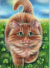 Original Painting 5 x 7 by  Marta Oktaba Orange Tabby Cat St. Pat's Day Clover