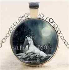 White Wolf with Pup Photo Cabochon Glass Tibet Silver Chain Pendant Necklace