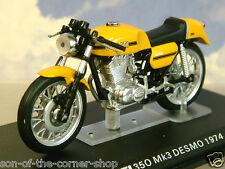 DETAILED IXO DIECAST 1/24 1974 DUCATI 350 MK3 MKIII DESMO MOTORBIKE IN YELLOW