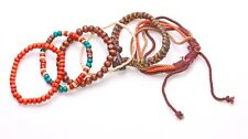 ORANGE, BROWN, CREAM & MULTI WOOD BEAD BRACELETS W ETHNIC YARN ADDITIONS(ZX45)