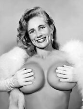 1960s Nude Virginia Bell with white gloves boa Holding breasts 8 x 10 Photograph