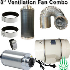 "8""/200mm HYDROPONICS LOW NOISE DUCT FAN WITH NRC SILENCER DUCTING FILTER COMBO"