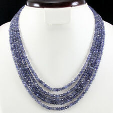 TOP 240.00 CTS NATURAL 5 LINE BLUE TANZANITE FACETED BEADS NECKLACE - GEM EDH