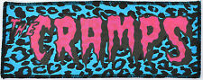PINK & BLACK CRAMPS PSYCHOBILLY PUNK GARAGE SICK BLUE LEOPARD OVERLOCKED PATCH