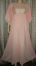 Gilead Vintage Bat Wing Lacy Long Peaches & Cream nightgown Sz Med. XLENT Cond.