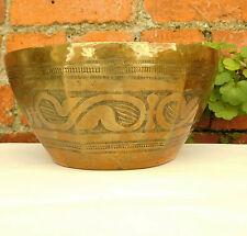 """Vintage African brass bowl Bida Nigeria patterned metal ware large 9.5"""" diameter"""
