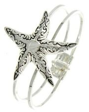 ICON Silver Filigree Large STARFISH Sea Life Hinged BANGLE Bracelet NWT New
