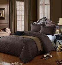CHOCOLATE BROWN King Size Egyptian Cotton 500 Thread Count Damask Duvet Cover