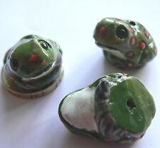 From Peru - Ceramic Focal 24 x 19 mm Beads - Green Frog with Red Spots x 3 beads