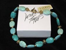 NWT Ralph Lauren Turquoise Short Necklace Embellished Gold Beads NEW Cat Charity