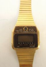 VINTAGE CASED 1979 OMEGA MEMOMASTER DIGITAL GOLD PLATED WRIST WATCH