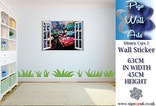 Childrens Bedroom Wall Sticker Disney Cars 2 3d effect window kids wall sticker.
