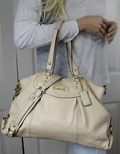 Coach F19234 Large Ashley Leather Convertible Carryall Shoulder Hand Bag Ivory