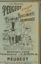 PEUGEOT BICYCLETTE BICYCLE COURSE BORDEAUX-PARIS LESNA GUILLAUME PUBLICITE 1894