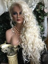 """AWESOME  32"""" Curly LONG Platinum Blonde Lace Front HUMAN HAIR BLEND!"""