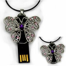butterfly USB Stick 4 GB pop up Jewellery Pendant Chain Rhinestone butterfly