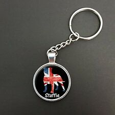 Staffie Dog Union Jack Pendant On A Split Ring Keyring Ideal Birthday Gift N484
