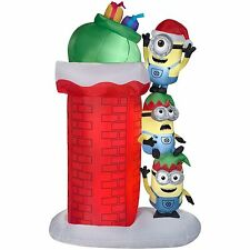 Airblown Self-Inflatable Minions w/ Chimney Gemmy Christmas Light-Up Yard Decor