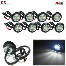 8X 24V OUTLINE ROUND SIDE MARKER LED WHITE LIGHT LAMPS FOR MAN DAF SCANIA VOLVO