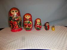 "5 pcs set Red Russian Girls Nesting Dolls Stacking Tallest 6"" Smallest 1.25"""