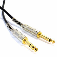 2m GOLD Stereo/Balanced Jack 6.35mm 1/4 inch METAL Plugs Cable Lead Black [00789