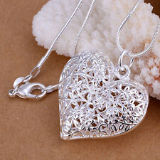 925 Hallmark Sterling Silver Filigree heart Pendant Woman Chain Necklace N-A347