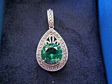 3.00 CTW  EMERALD SIMULANT PENDANT ~ RHODIUM PLATED 925 STERLING SILVER