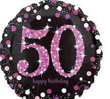 50th Pink  Birthday Balloon - Sparkling Celebration  Party Decorations  Free