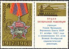 Russie 1968 révolution d'octobre/médaille/navire/rocket/militaire 1v+lbl (n21113)