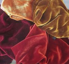 Silk VELVET Autumn Colors Fabric Sample Set Remnants Lot