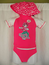 BNWT Girls Sz 1 Cute Fluro Pink Rash Top & Pants & Hat Swim Suit Set UPF 50+