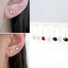 Creative U Shaped Ear Studs Shiny Rhinestone Ear Clip Jewelry (Random Colors)
