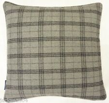 "FILLED GREY SILVER SCOTTISH TARTAN CHECK REVERSIBLE WOOL 18"" CUSHION"