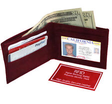 RFID Blocking Security Men's Bifold Card  Id Credit Genuine Leather Wallet Red