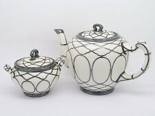 RARE LENOX TEAPOT & SUGAR WITH MAUSER STERLING SILVER OVERLAY 1800'S ART NOUVEAU