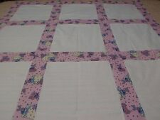 "HANDMADE TEDDY N BUNNY 9  12"" BLK  BLANK QUILT TP 4 APPLIQUE 48 X 48 PINK  BLUE"