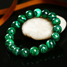 Handmade Natural 10mm Green Malachite Round Gemstone Beads Stretch Bracelet