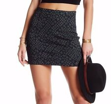 NWT FREE PEOPLE Sz2 MODERN FEMME STRETCH MINI SKIRT INDIGO COMBO $60.