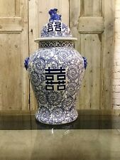 Ex Large Blue & White Eastern Style Ceramic Temple Ginger Jar With Foo Dog Lid