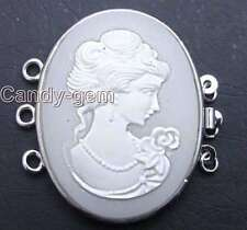 SALE Big 30*40mm White Oval Cameo Beauty 3 Strands Clasp-GP123 Free shipping