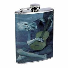 Pablo Picasso The Old Guitarist Flask D150 8oz Stainless Man Playing the Guitar